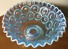 Star Electric or Ice Blue Glass Opalescent Compote Fruit Bowl