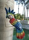 Mexican Folk Art Pottery Ceramic Bird Cockatoo Parrot Metal Ring Perch 17