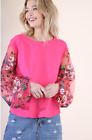 Umgee New Hot Pink Sheer Floral Embroidery Puff Sleeve Top