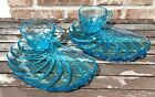 Vintage Hazel Atlas Azure Blue Shell Swirl Snack Sets 2 Plates and 2 Cups