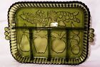 Indiana Glass Olive Green Vintage Fruit-Relish Tray - Excellent
