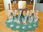 Set of 11 Vintage Clear Etched Cordial/Shot Glass w/ Daisy Pattern, Excellent!