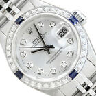 LADIES ROLEX DATEJUST SILVER DIAL 18K WHITE GOLD SAPPHIRE DIAMOND