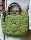 FOSSIL KEY PER GREEN QUILTED FLORAL DESIGN ADJ CROSS BODY BAG W KEY CHARMS