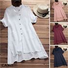 New Womens Summer Boho Cotton Casual Kaftan Basic Tunic Midi Long Dress M 3XL