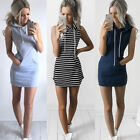 Women Sleeveless Hoodie Short Dress Summer Casual Bodycon Hooded Sweatshirt Tops