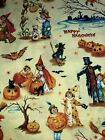 Halloween Retro Vintage Postcard Images Bats Witch Black Cat Yellow Fabric BTHY
