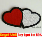 Red White Heart Patch Love Embroidered Iron Sew On Valentine Applique Badge