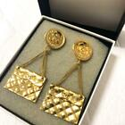 Authentic Chanel Vintage Matrasse Earring Swing Rare Coin EMS F/S