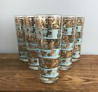 Mid Century Georges Briard Turquoise  Gold Grape Leaf Highball Glasses QTY 6