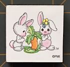 PRECIOUS MOMENTS SWEET BUNNIES Foam Mounted RUBBER STAMP EASTER ANIMALS ETC