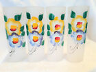 Vintage Libbey Glass Set of 4 Frosted Tom Collins Flowers Iced Tea Drinks