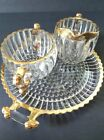 JEANNETTE Glass Creamer, Sugar Bowl and a Tray Set Gilded