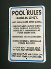 Adult Only Pool Rules 12 by 18 Metal Sign Funny Pool Hot Tub Conversation Star