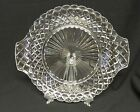 Anchor Hocking Crystal Waterford, Waffle Handled Cake Plate / Sandwich Plate