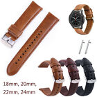 18mm 20mm 22mm 24mm Vintage Genuine Leather Watch Band Bracelet Strap Quick Pins