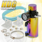 Universal Neo Chrome Engine Oil Catch Can Tank + Breather Filter + Vacuum Gauge