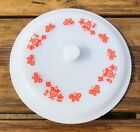 Vintage Fire King #5210 Lid White with Red Tulip Flowers and Butterflies 10 1/2