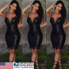 USA Women Sexy Bandage Bodycon Lace Mini Dress PU Leather Party Pencil Dresses