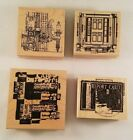 Rubber Stamp Lot Crafting Card Making Club Scrap Collage Steampunk Paper 4 Qty