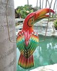Mexican Folk Art Pottery Ceramic Bird Toucan Parrot Metal Ring Perch 18 Red