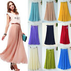 Ladies Retro Chiffon Pleated Double Layer Skirt Women Long High Waist Maxi Dress