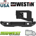 Westin WJ2 Textured Rear Bumper W Tire Carrier Fits 2007 2018 Jeep Wrangler JK
