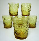 6 Anchor Hocking Lido Milano Rocks Tumblers Honey Gold Old Fashioned 8 oz Amber