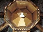 BRADLEY AND HUBBARD SLAG GLASS PANEL LAMP SHADE HOLDER WITH CORRESPONDING FINIAL