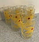 Vintage Set Of 6 Hand Painted Water Glasses Classic 1950's Flower Power