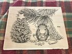 House Mouse Rubber Stamp Pine Cone Tree