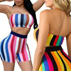 Women Sexy Tube Strapless Crop Top and Bodycon Short Pants Clubwear 2 Piece Set