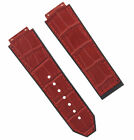 25MM ALLIGATOR LEATHER RUBBER BAND STRAP CLASP FOR HUBLOT H BIG BANG RED #9H