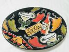 LARGE COLORFUL CLAY ART SALSA SERVING PLATTER BOWL HAND PAINTED STONELITE CLAY