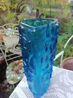 Vintage 3 Sided Kingfisher Blue Glass Tree Trunk Textured Vase 1960s