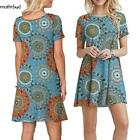 Women Fashion Print Short Sleeve Loose Casual Dresses with Pockets M5BD 01