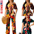 USA Sexy Two Piece Set Women V Neck Bow Tie Crop Top And Loose Wide Leg Pants