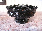 Vintage Pedestal Black Amethyst Glass Bowl w Flower Frog Insert REDUCED