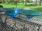 2 Vintage Hazel Atlas ? Capri Azure Blue Serving Centerpiece 9 1/2