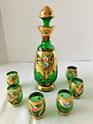 Green Bohemian and Gold Glass Decanter and 6 Glasses Enamel Flowers LIQUOR SET