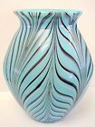 Fenton Glass Robert Barber Dave Fetty Blue Feather Vase Limited To 1000