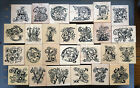 RARE PSX RUBBER STAMPS PRETTY BOTANICAL FLORAL LETTER DESIGNS YOU CHOOSE