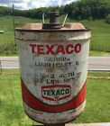 VTG Metal Tin 5 Gallon Can TEXACO MOTOR OIL Lubricant Estate Barn Find Rusty Old