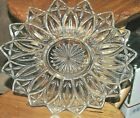 VINTAGE GLASS PLATTER 11.5 X 11.5 EMBOSSED SUNFLOWER STARBURST FLOWERED EDGES