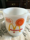 Fire King McDonalds Good MORNING CANADA MUGS X 2 Red Maple Leaf Stacking Cups