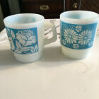 Fireking Vintage Coffee Mugs Blue Flowers x 2 Stacking