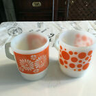 Fireking Coffee Mugs Orange Polka Dots and Flowers set of 2