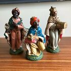 Vintage THREE WISE MEN Paper Mache NATIVITY SET FIGURES ITALY Hand Painted