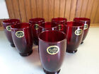 Hocking Baltic (8)  Royal  Ruby Red Glass Water Goblets/Tumblers 4 1/2