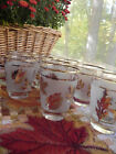 Vintage Libbey frost golden foliage, leaf juice glass bar ware fall wedding 13PC